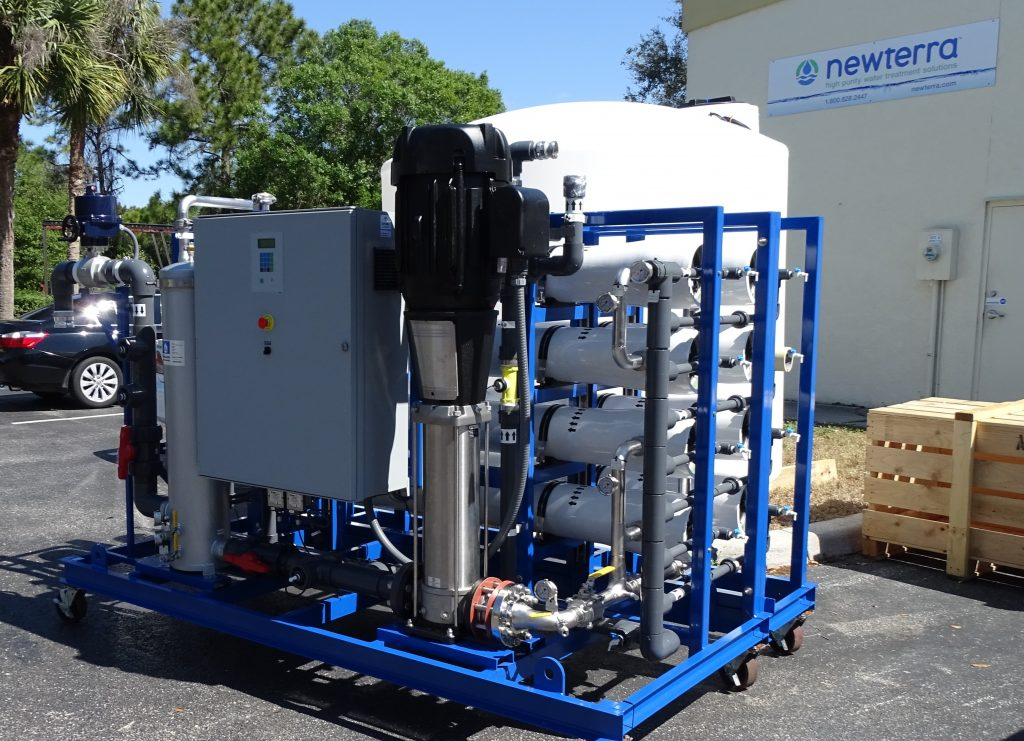 EPRO LMF Series Skid Mounted Reverse Osmosis System with 7 RO Tubes, Pump and Control System